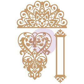 Embellissements en bois Chipboard Lace & Heart  Prima Marketing