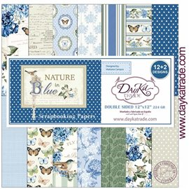 Papier scrapbooking assortiment naissance DayKa Trade Nature in Blue 30x30