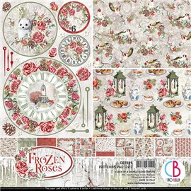 Papier scrapbooking assortiment Ciao Bella Frozen Roses 8fe 30x30