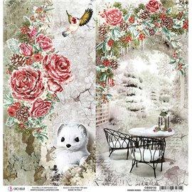 Papier scrapbooking réversible Ciao Bella Frozen Roses 30x30