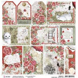 Papier scrapbooking réversible Ciao Bella Frozen Roses Frames & Tags 30x30