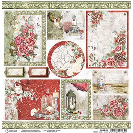 Papier scrapbooking réversible Ciao Bella Frozen Roses Cards  30x30