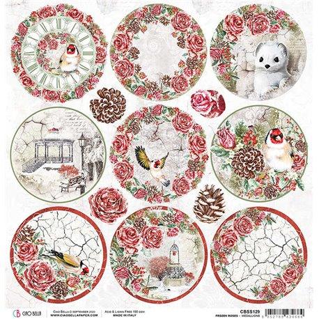 Papier scrapbooking réversible Ciao Bella Frozen Roses Medallions  30x30