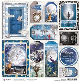 Papier scrapbooking réversible Ciao Bella Moon & Me Cards and Tags 30x30