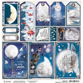 Papier scrapbooking réversible Ciao Bella Moon & Me Frames and Tags 30x30