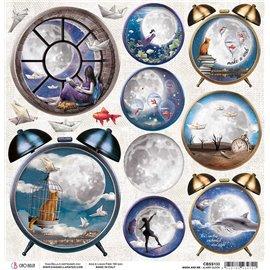 Papier scrapbooking réversible Ciao Bella Moon & Me Alarm Clock 30x30