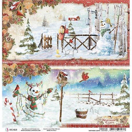 Papier scrapbooking réversible Ciao Bella Snowmen 30x30