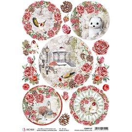 Papier de riz Ciao Bella 22x32cm Frozen Roses Medallions