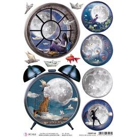 Papier de riz Ciao Bella 22x32cm Moon & Me Alarm Clock