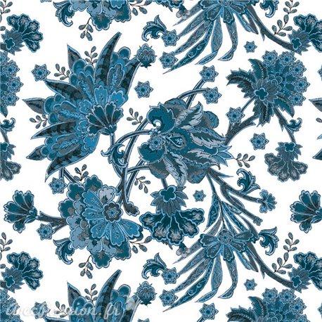 Papier italien motifs feuillage bleu et poudre d'or
