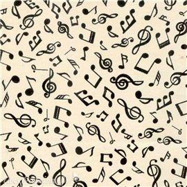 Papier fantaisie musique amadeus blanc ivoire