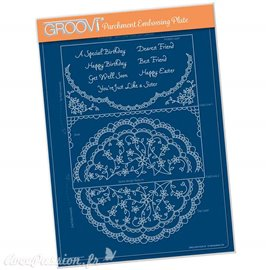 Groovi gabarit parchemin Flourish Lace cercle A4
