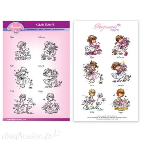 Tampons Pergamano Marina Fedotova clear stamps x6 Flower