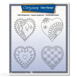 Tampons Claritystamp clear stamps x4 Linda Williams reine de coeur