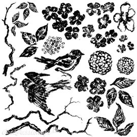 Tampons IOD Clear Stamps Birds Branches and Blossoms 30x30cm 6 pièces