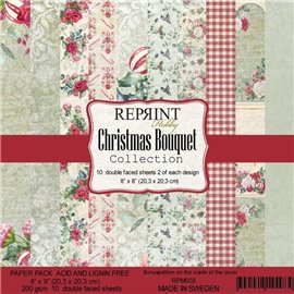 Papier scrapbooking assortiment Reprint Hobby Christmas Bouquet recto verso 20x20 10fe