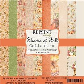 Papier scrapbooking assortiment Reprint Hobby Shades of Fall recto verso 20x20 10fe