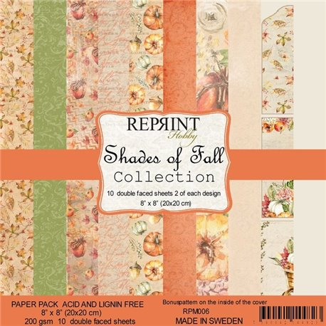 Papier scrapbooking assortiment Reprint Hobby Shades of Fall recto verso 20x20 10fe