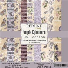 Papier scrapbooking assortiment Reprint Hobby Purple Ephemera recto verso 20x20 10fe