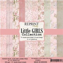 Papier scrapbooking assortiment Reprint Hobby Little Girls recto verso 20x20 10fe
