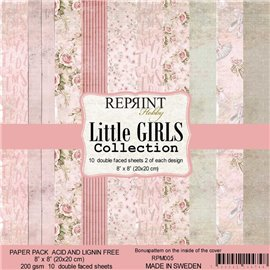 Papier scrapbooking assortiment Reprint Hobby Little Girls recto verso 20x20 10fe