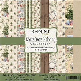 Papier scrapbooking assortiment Reprint Hobby Christmas Holiday recto verso 20x20 10fe