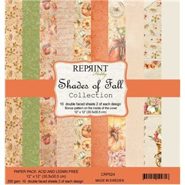 Papier scrapbooking assortiment Reprint Hobby Shades of Fall recto verso 30x30 10fe