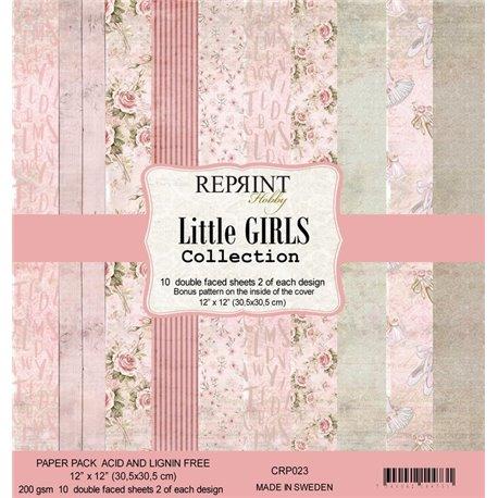 Papier scrapbooking assortiment Reprint Hobby Little Girls recto verso 30x30 10fe