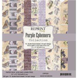Papier scrapbooking assortiment Reprint Hobby Purple Ephemera recto verso 30x30 10fe