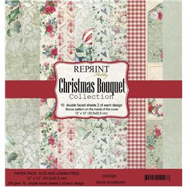 Papier scrapbooking assortiment Reprint Hobby Christams Bouquet recto verso 30x30 10fe
