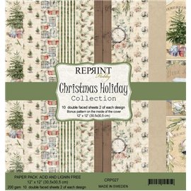 Papier scrapbooking assortiment Reprint Hobby Christams Holiday recto verso 30x30 10fe