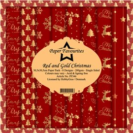 Papier scrapbooking assortiment Dixi Craft Paper Favourites Red and Gold Christmas 30x30 8fe