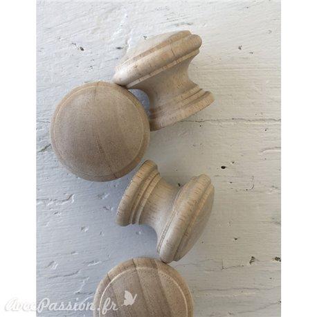 Boutons de meubles en bois 3,8 cm (4 boutons) grand