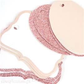 Etiquettes tag rose & paillettes Sparkle Rose Gold Glitter