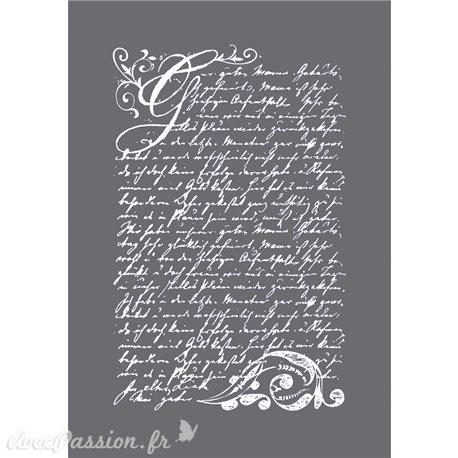 Pochoir décoratif silk screen écriture 15x20cm
