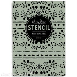 Pochoir décoratif Annie Sloan Stencil 2x A3 and 1x A4 Design Faux Bone Inlay