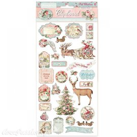 Chipboard Pink Christmas 15x30cm