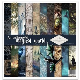 Papier scrapbooking undiscovered magical world assortiment 1 tag + 10 feuilles 30x30