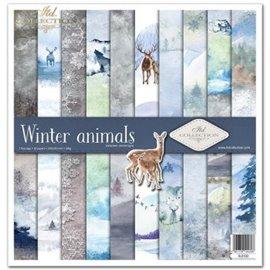 Papier scrapbooking Winter animals assortiment 1 tag + 10 feuilles 30x30