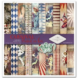 Papier scrapbooking Carnival Pierrot in love assortiment 1 tag + 10 feuilles 30x30