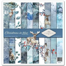 Papier scrapbooking Christmas in Blue assortiment 1 tag + 10 feuilles 30x30