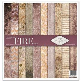 Papier scrapbooking Four elements Fire assortiment 1 tag + 10 feuilles 30x30