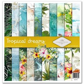 Papier scrapbooking Tropical Dreams assortiment 1 tag + 10 feuilles 30x30