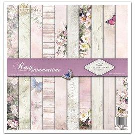 Papier scrapbooking Rosy Summertime assortiment 1 tag + 10 feuilles 30x30