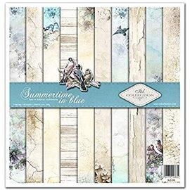 Papier scrapbooking Summertime in Blue assortiment 1 tag + 10 feuilles 30x30