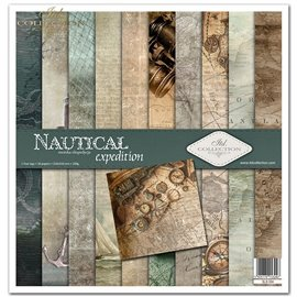 Papier scrapbooking Nautical Expedition assortiment 1 tag + 10 feuilles 30x30