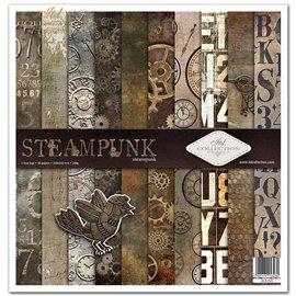 Papier scrapbooking Steampunk assortiment 1 tag + 10 feuilles 30x30