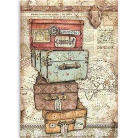 Papier de riz Stamperia 21x29,7cm Lady Vagabond valises
