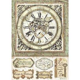 Papier de riz Stamperia 21x29,7cm Lady Vagabond Horloge et mécanismes