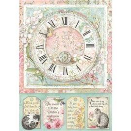 Papier de riz Stamperia 21x29,7cm Horloge